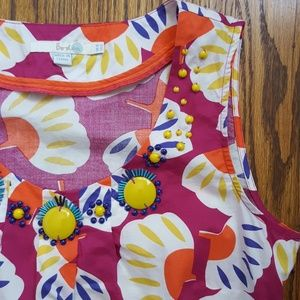 Boden Colorful Sleeveless Top Beaded Detail